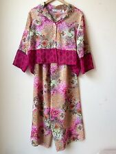 Victoria's Secret PJ Set Pink Floral Sheer Silky Velvet Trim Sz M PERFECT