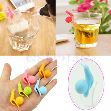 5pcs Snail Shape Silicone Tea Bag Holder Cup Mug Candy Colors Gift Set New