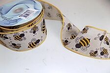 """Bumble Bee Linen Look Wired Ribbon 2.5""""Wide TEN Yards NEW + Free Bow Maker"""