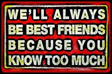 *ALWAYS BEST FRIENDS* USA MADE! DISTRESSED METAL SIGN 8X12 FUNNY BFF WOMAN CAVE