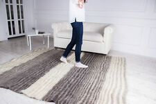 Grey Striped Wool Area Rug Fluffy Carpet Pure 100% Bed Living/Room Rag Handmade