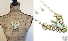 Shades of Green Feather Bead Cluster Pendant Statement Bib Necklace & Earrings