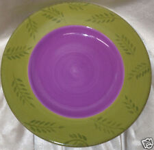 """HOME PASTIS 10.75"""" DINNER PLATE GREEN RIM WITH PURPLE OR LAVENDER CENTER LEAVES"""