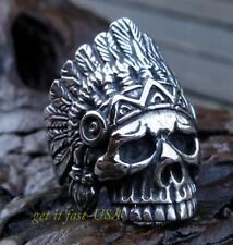 US SELLER Mens Indian Chief Skull Biker Ring Size 10 316L Stainless Steel