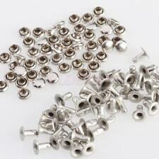 50Sets Silver Round Rivets Rapid Studs 4mm for DIY Clothes Shoes Handbags Charms
