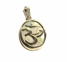 Ohm Aum Om Meditation Symbol Anhänger mit Perlmutt 925er Sterling Silber Neu
