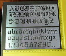 Metal/stencil/Oblong/Upper/Lower Case/Alphabet/Numbers/Old English/Emboss/MEDIUM