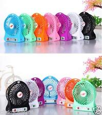 Portable HandHeld Mini Rechargeable LED Light Fan With Battery+USB Cable-Pink