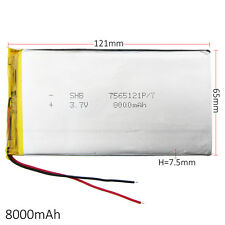 3.7V 8000mAh 7565121 LiPo Polymer Rechargeable Battery For GPS Tablet PC DVD PAD