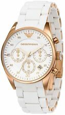NEW EMPORIO ARMANI AR5920 WHITE ROSE GOLD LADIES WATCH - 2 YEAR WARRANTY