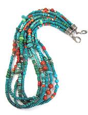 Estate Native American Sterling .925 Multi-stone 5 Strand Treasure Necklace