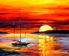GOLDEN GATE BRIDGE BY THE SUNSET  —  Oil Painting On Canvas By Leonid Afremov