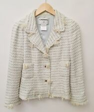 Chanel Size 34 Light Blue Tweed Jacket