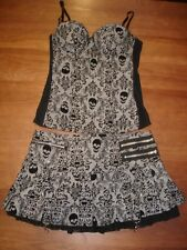 SPIRIT HALLOWEEN GOTH SKULL BLACK WHITE CHECK BUSTIER PLEATED SKIRT SET - M/L
