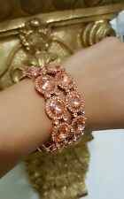 Round Cut  Circle Crystal RHINESTONE Wedding Rose Gold Pink Stretch Bracelet