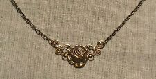 ANTIQUE STYLE BRASS GOLD FILIGREE ROSE DAINTY NECKLACE MINIMALIST VICTORIAN