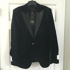 H&M HM x Balmain Velvet Blazer Men's Size 38R with Garment Bag Black
