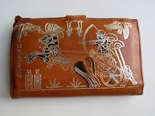 Vintage Hand Crafted Stamped Leather Bifold Wallet Coin Holder Egypt Rameses