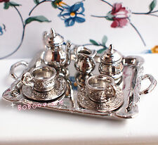 Dollhouse Miniature 1:12 Toy 8 Pieces Metal Silver Tea Set Length 6.5cm DM62