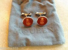 Alexander McQueen Enameled Silver-Tone Skull Cufflinks Burnt-Orange