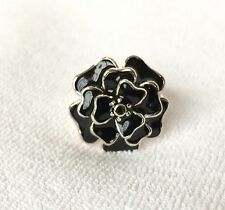 BANANA REPUBLIC JEWELRY Black Enamel Silver Flower Fashion Ring $38 Size XS 5