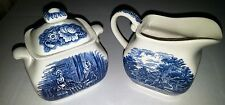 Liberty Blue Staffordshire sugar w/ cover and creamer Betsy Ross & Paul Revere