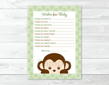 Mod Monkey Jungle Safari Printable Baby Shower Wishes for Baby Advice Cards
