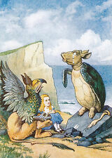 Print ALICE IN WONDERLAND Crying MOCK TURTLE & GRYPHON LEWIS CARROLL Characters