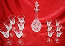 Saint ST LOUIS Crystal, France, TARN,13 Pc Collection, Sherry, Cordial, Decanter