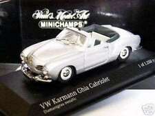 RARE MINICHAMPS VW KARMANN GHIA CABRIOLET IN FIRST ISSUE SILVER METALLIC 1:43