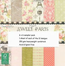 Dovecraft Sweet Paris Papers 6 x 6 Sample Pack-NUOVA VERSIONE - 12 FOGLI
