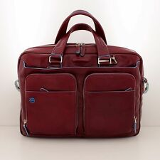 TWO HANDLES BRIEFCASE PIQUADRO Offer !!! BLUE SQUARE LEATHER CA2849B2/R