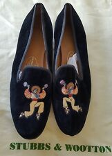 Stubbs and Wootton Black Velvet Mariachi Slipper Loafer Shoes SZ 8