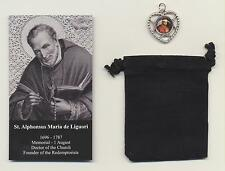 Saint Alphonsus Liguori Relic Medal with Holy Card Patron of Arthritis