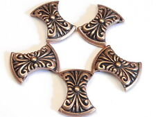 5 - 2 HOLE SLIDER BEADS ANTIQUED COPPER PLATED CONCAVE SWIRLED FLOURISH DESIGN