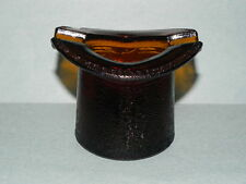 Amber Glass Top Hat Cigarette Holder and Ashtray_3509