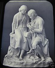 Glass Magic Lantern Slide STATUE OF ROBERT BURNS & HIGHLAND MARY C1890 PHOTO