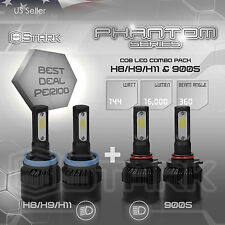 H11 9005 4PCS LED Total 144W 16000LM Light Combo Headlight High 6000K White Kit