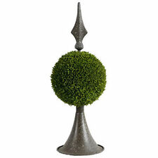 """Grass Ball Topiary w/ Metal Finial Stand 17"""" - 35413"""