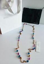 """Anne Fontaine NWT """"Maya"""" Gold Colorful Beaded Long Necklace Retail $195."""