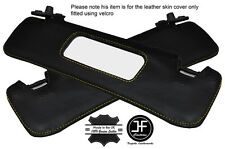 YELLOW STITCHING 2X SUN VISORS LEATHER COVERS FITS FIAT BARCHETTA 1995-2005