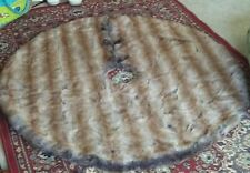 Nicole Miller Home Brown Faux Fur LUXE Christmas Tree Skirt ELEGANT Holiday 52""