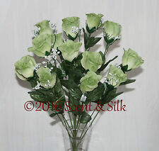 14 Sage Green Long Stem Silk Roses,Wedding, Bouquets,Floral Arrangement