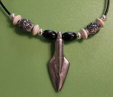 Viking Gungnir, Odin's Spear Pendant  Necklace with Celtic and wooden beads