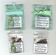 25 MINT GREEN ORGANZA WEDDING FAVORS with MIXED BUTTERFLY BUSH SEEDS + POEM
