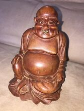 BUDDHA ASIAN Antique Handmade Carved  Statue Maitreya Art Deco SOLID WOOD