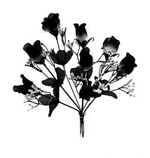 7 Roses ~ BLACK & WHITE ~ Silk Wedding Flowers Bouquets Centerpieces Decor Goth
