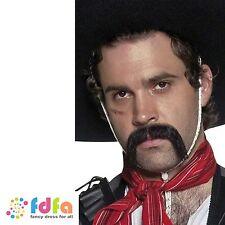 Noir authentique mexicaine guidon moustache homme accessoires costume robe fantaisie