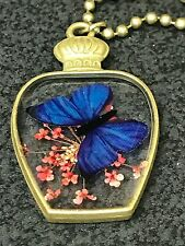 "Dried Red Flowers Butterfly Blue Set in Resin Charm Tibetan 24"" Necklace A5"