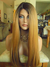 FREE SHIPPING Lace Front Quality Synthetic Wig - Long Yaki Golden Blonde Ombre